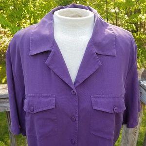 Anna and Frank Purple Silk Short Sleeve Button Top